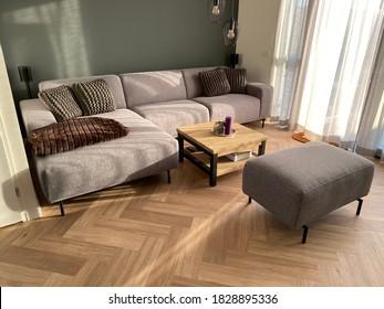 Herringbone PVC flooring with decoration - Shutterstock ID 1828895336