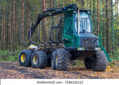 Herrnhut, Saxony/Germany - October 30th 2019: parked John Deere Timberjack 810 in forest in Saxony Germany