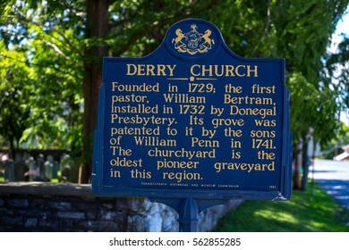 Hershey, PA - August 22, 2016: The Derry Church Historic Marker Sign in Hershey marks the location of an early American church congregation.