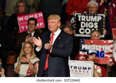 HERSHEY, PA - DECEMBER 15, 2016: President-Elect Donald Trump applauds as he walks off stage at the conclusion of a Thank You rally held at the Giant Center.