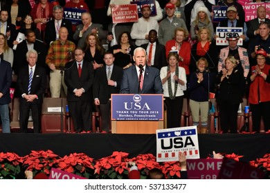 HERSHEY, PA - DECEMBER 15, 2016: Vice President-Elect Mike Pence delivers a speech to a large crowd at a Thank You tour held at the Giant Center.