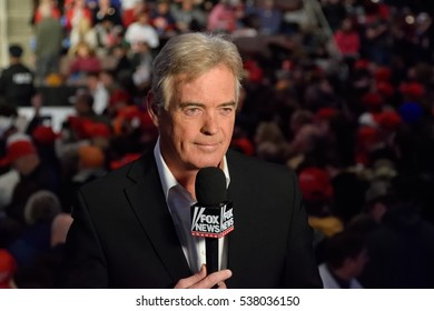 HERSHEY, PA - DECEMBER 15, 2016: John Roberts journalist for Fox News reports from President-Elect Donald Trump's Thank You Tour at the Giant Center.