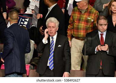HERSHEY, PA - DECEMBER 15, 2016: Jeffrey Lord political strategist and CNN contributor waits for President-Elect Donald Trump to arrive for a Thank You Tour rally at the Giant Center.