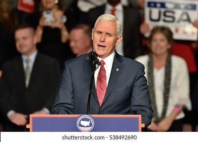 HERSHEY, PA - DECEMBER 15, 2016: Vice President-Elect Mike Pence pauses as he delivers a speech to a large crowd at a Thank You rally held at the Giant Center.