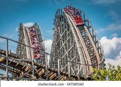 Hershey, PA - June 24, 2011: The Lightning Racer is a wooden, double-track dueling roller coaster in Hersheypark.