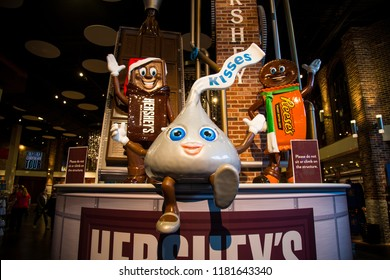 Hershey, PA, USA – December 10, 2015: Hershey Candy Characters display in Chocolate World.