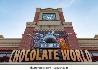 Hershey, PA, USA – December 10, 2015: The Chocolate World Sign at the Entrance in Hershey, PA