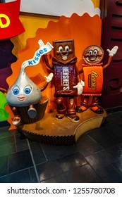 Hershey, PA, USA - December 11, 2018:  Hershey's Chocolate Candy characters on display in the lobby of Chocolate World.
