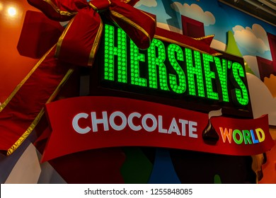 Hershey, PA, USA - December 11, 2018:  The Chocolate World sign in the main lobby.