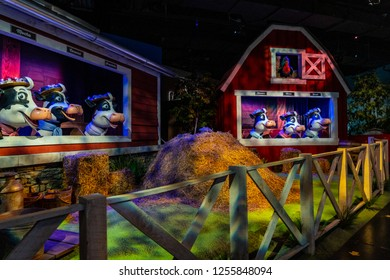 Hershey, PA, USA - December 11, 2018:  Animated singing cows celebrating the milk used in Hershey's Chocolate are part of the Chocolate World ride.