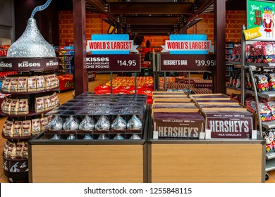 Hershey, PA, USA - December 11, 2018:  Candy is offered for sale to visitors at Chocolate World