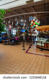 Hershey, PA, USA - December 11, 2018:  Inside Chocolate World, there are exhibits, ride, products, and a food court for tourists to visit.