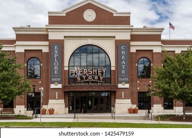 Hershey, PA, USA - June 15, 2019: The Hershey Story is a museum and popular attraction on Chocolate Avenue in downtown Hershey provides guidance to visitors.