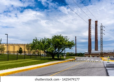 Hershey, PA, USA - June 15, 2019: The Hershey Candy Factory with its iconic smokestacks in downtown Hershey.