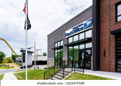 Hershey, PA, USA - June 15, 2019: The USPS Hershey Post Office in downtown Hershey.