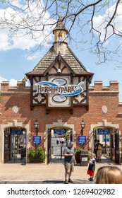 Hershey, PA, USA - May 3, 2015: The main gateway entrance to Hersheypark, a family theme park situated in Hershey, Pennsylvania.