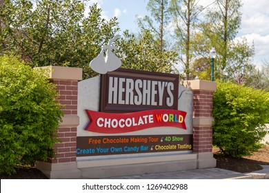 Hershey, PA, USA - May 3, 2015: Welcome to Hershey's Chocolate World  sign. Chocolate World is situated in Hershey, Pennsylvania.