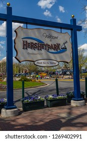 Hershey, PA, USA - May 3, 2015: Welcome to Hersheypark sign. The family theme park is situated in Hershey, Pennsylvania.