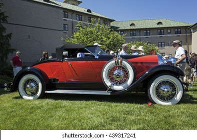 HERSHEY, PA, USA-JUNE 12, 2016:  1928 Auburn Model 8-88 Speedster on display at The Elegance at Hershey.  The Speedster body style was designed for Duesenberg but was used on a Auburn chassis instead.