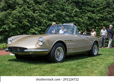 HERSHEY, PA, USA-JUNE 14, 2015:  1967 Ferrari 330GTS Spyder on display at The Elegance at Hershey.  This car is the 28th of a total of 100 built.