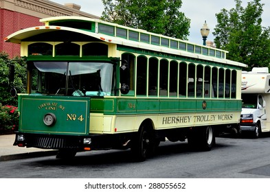 Hershey, Pennsylvania - June 7, 2015:  Hershey Trolley Works Chocolate Avenue No. 4 ready to take visitors on a tour of the town  *