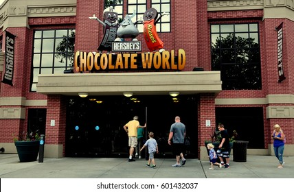 Hershey, Pennsylvania - June 7, 2015:  Visitors entering the immense Hershey's Chocolate World super store