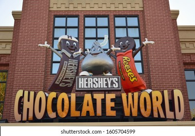 Hershey, Pennsylvania, United States of America - October 11, 2015. Sign at the entrance to the Chocolate World visitor center in Hershey, PA.