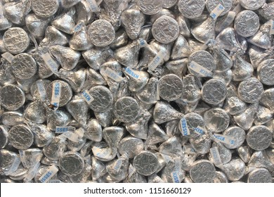 Hershey, Pennsylvania / USA - August 7, 2018: Hershey Kisses Candy seen at Hershey Chocolate World retail outlet and tourist attraction in Hershey, Pennsylvania.