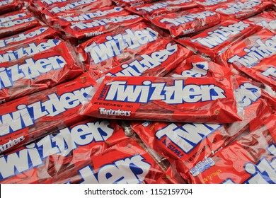 Hershey, Pennsylvania / USA - August 7, 2018: Twizzlers Candy Display for sale seen at Hershey Chocolate World retail outlet and tourist attraction in Hershey, Pennsylvania.