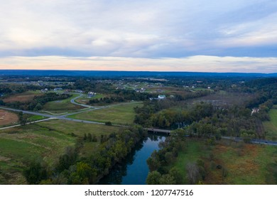 Hershey Pennsylvania USA Drone Aerial View Swatara Creek Farm Land