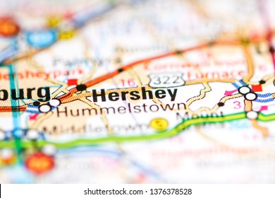 Hershey. Pennsylvania. USA on a geography map