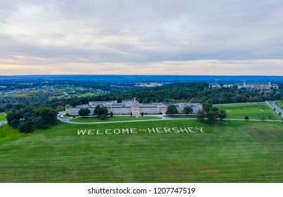 Hershey, Pennsylvania/USA - October 2018: Welcome to Hershey Sign Aerial View