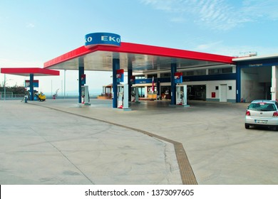 Hersonisou, Crete, Greece,  10/17/2015, EKO gas station on a mountain in the city of Hersonissos on the island of Crete, high contrast, many details, blue sky.