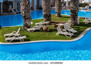 HERSONISSOS, CRETE - MAY 12, 2017: View of wonderful area of Aldemar Royal Mare 5-star resort in Hersonissos. Royal Mare resort: landscaped gardens, turquoise pools & beach, best Thalasso & Spa Centre