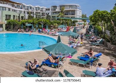 HERSONISSOS, CRETE - MAY 16, 2017: View of 4-star Arminda Hotel & Spa (160 rooms). Arminda Hotel & Spa is an all-inclusive, 150 m from a sandy beach; it features 2 large salt-water pools.