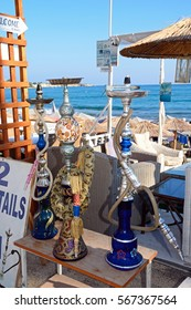 HERSONISSOS, CRETE - SEPTEMBER 17, 2016 - Hookah Sisha Pipes at a beachside bar, Hersonissos, Crete, Greece, Europe, September 17, 2016.