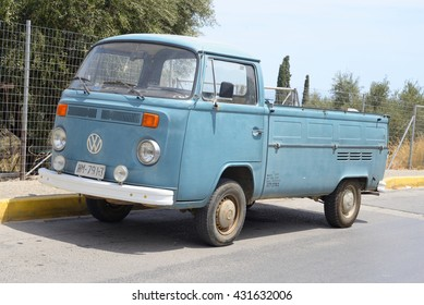 HERSONISSOS, GREECE - 29 MAY 2016: Volkswagen T2 on street of Hersonissos. First minivan and a second civilian vehicle Volkswagen. It is produced from 1967 to 1979.
