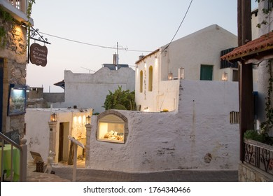 Hersonissos,Crete/Greece - 07.03.2018: The showcase of a jewelry store in a picturesque town of Crete Island. A store in a white greek building.