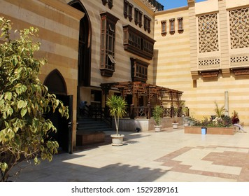 Herstoric Cairo, Cairo / Egypt - 2.28.2018 : Interior decoration of Traditional Islamic house at historic Cairo, Cairo, Egypt.