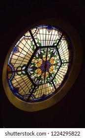 Hertogenbosch/ Netherlands - 29.10.2018:  Ancient vitrage window in a church