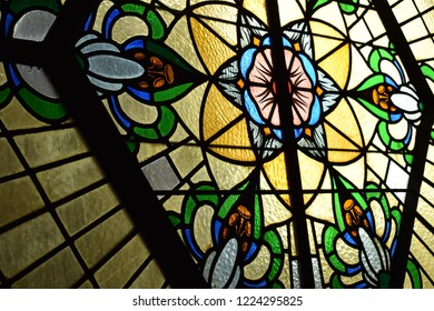 Hertogenbosch/ Netherlands - 29.10.2018:  Ancient vitrage window in a church