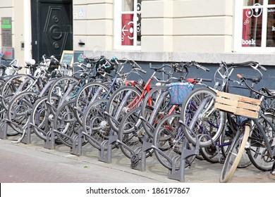 HERTOGENBOSCH, NETHERLANDS - APRIL 1: Bicycles in front of house at 's-Hertogenbosch on April 1, 2014 in Hertogenbosch
