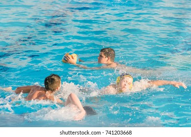 Herzeg Novi, Montenegro, 17 MAY, 2017:  Boys playing water polo in the pool