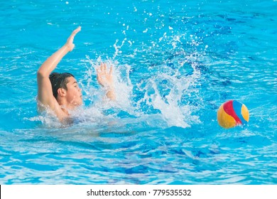 Herzeg Novi, Montenegro, 17 MAY, 2017:  Group of boys during a game of water polo