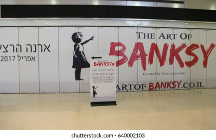 HERZLIYA, ISRAEL - APRIL 30, 2017: The Art of Banksy exhibition at the Arena Mall in Herzliya.