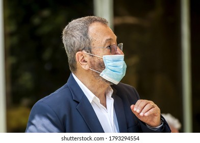 HERZLIYA, ISRAEL. July 06, 2020. Former Prime minister of Israel and Defense minister Ehud Barak wearing a protective mask at a public event.
