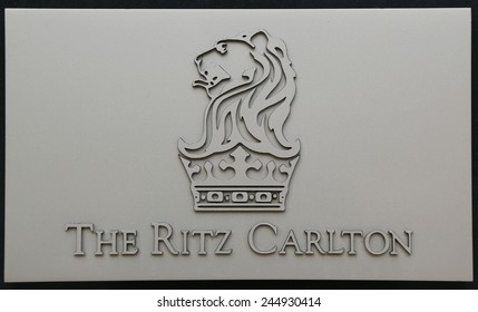 HERZLIYA, ISRAEL - NOVEMBER 25, 2014: The Ritz-Carlton sign in Herzliya Marina. Ritz-Carlton operates 84 luxury hotels and resorts in major cities and resorts in 26 countries