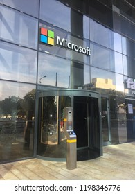 Herzliya-Israel October 9, 2018: Entrance door of Microsoft Corporation R&D center offices in Israel