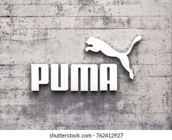 Herzogenaurach, Germany - AUG 13, 2017: Puma logo on a facade. Puma is a major german multinational company that produces athletic, casual footwear, sportswear, headquartered in Bavaria, Germany