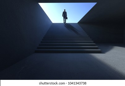Hesitant businessman stand on stair looking and thinking .